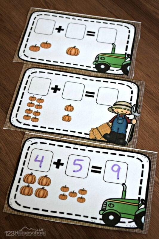 FREE kindergarten addition activity for october and november with prek, kindergarten and 1st grade kids