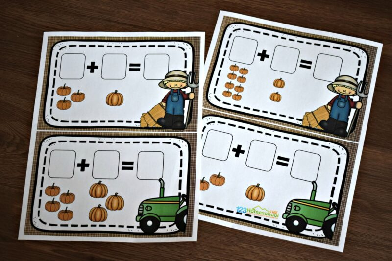 free pumpkin printable for math practice in October