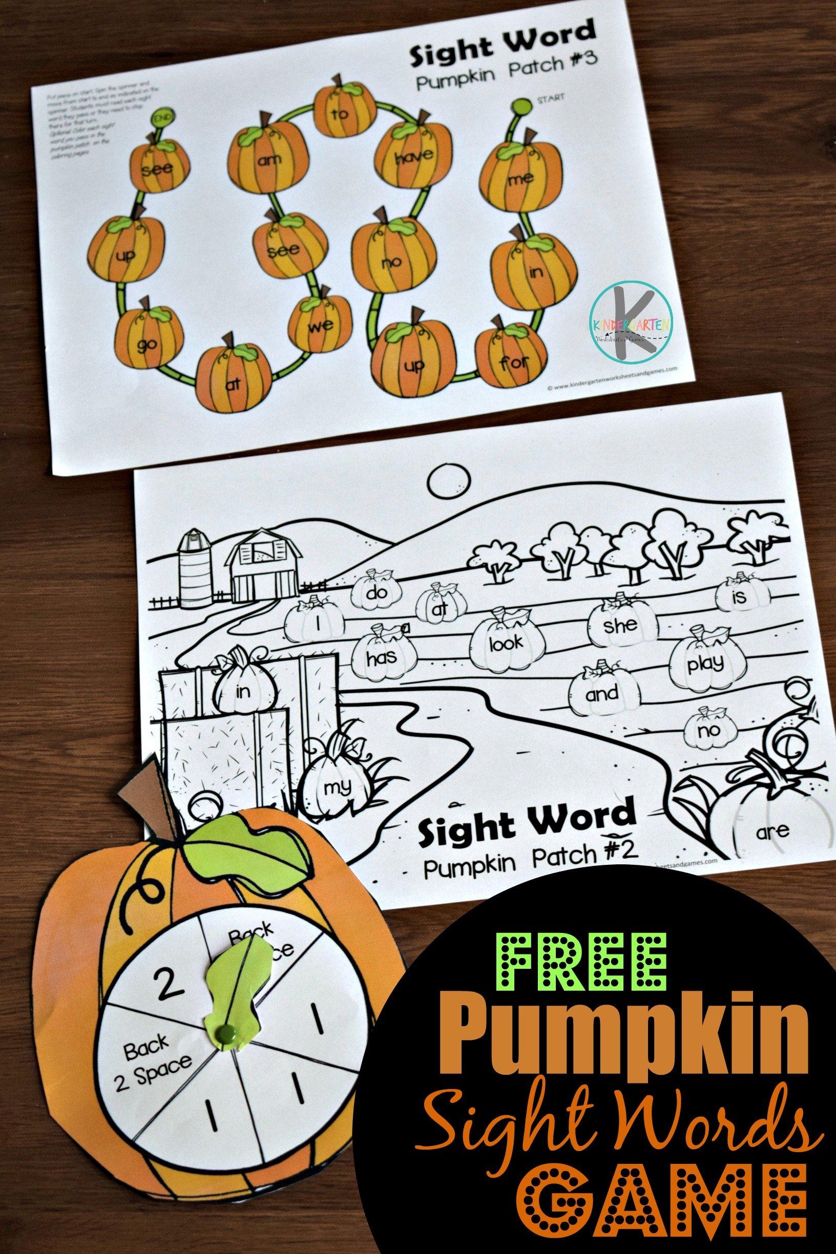 Pumpkin Sight Words game