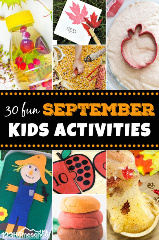 30+ FUN September Activities for Kid -  soooo many fun, hands on activities for kids of all ages to celebrate fall. #kidsactivitiies #september #kindergarten