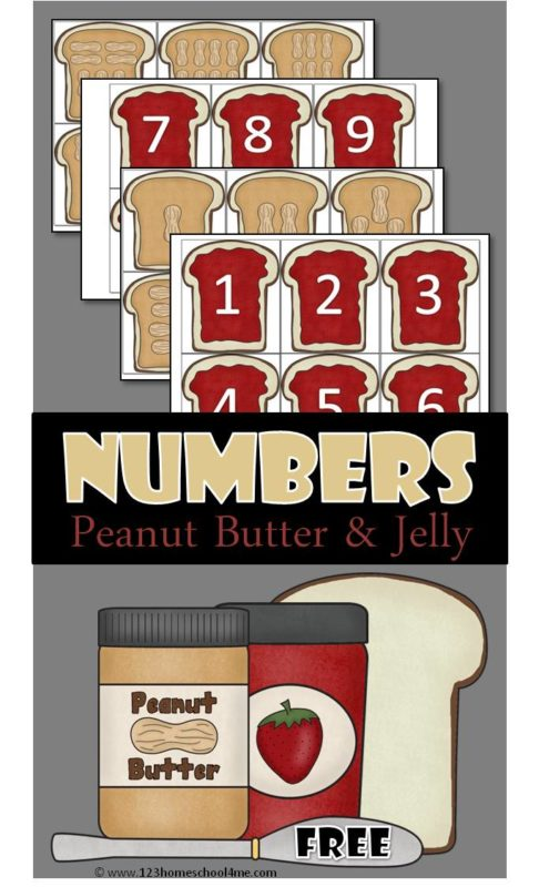 FREE Count and Match Peanut Butter and Jelly Sandwiches - this is such a fun counting activity with so many different ways to use it for back to school, as a math activity for preschoolers, and more #counting #preschool #math