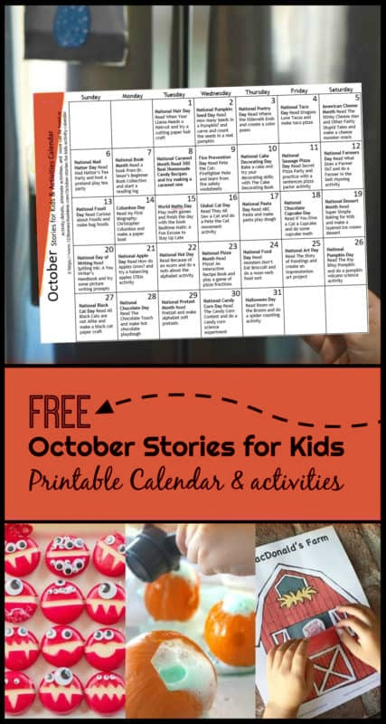 Grab the October Activity Calendar filled with a daily theme including a book and book based activity. These October stories for kids will give you a fun day to celebrate each day in the month of October, making it a great way for the whole family to get together for fun. Great fun for toddler, preschool, pre k, kindergarten, first grade, 2nd grade, and 3rd grade students.