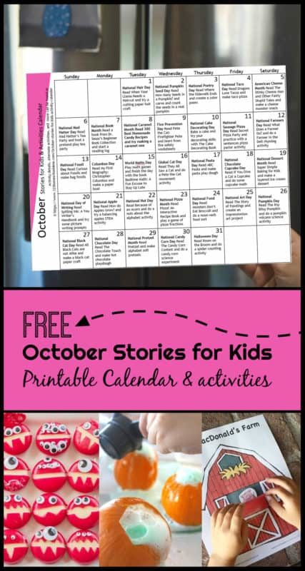Octoboer Stories for kids with free printable activity calendar