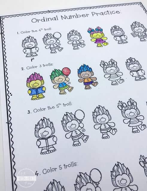 super cute free printable Ordinal Numbers Worksheet where students will color in objects to practice with first, second, last, position in kindergarten and first grade math