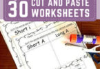 FREE Cut and Paste Worksheets - Kids will have fun practicnig a variety of math, alphabet, literacy, and more slills with these free printable Cut and Paste Worksheets for preschool, kindergarten, grade 1 and more #freeworksheets #cutandpasteworskheets #preschool.