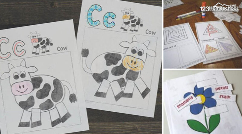 tons of free cut and paste worksheets for kids of all ages form preschoolers, kindergartners, first graders, 2nd graders and more