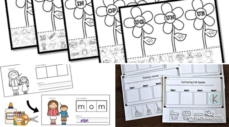so many fun cut and paste worksheets to practice CVC words, sigh words