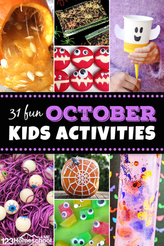October Activities for Kids - So many outrageously clever ideas - kids will be happy playing and learning all month long with this great list of pumpkin, monster, spiders, ghosts, and more ideas for preschool, kindergarten ,first grade, 2nd grade, family fun and more #kidsactivities #preschool #octoberactivities