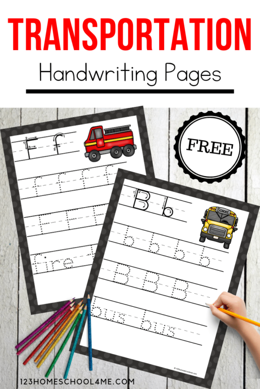 FREE Transportation Handwriting Printables - kids will have fun practicing tracing letters with these free printable alphabet pages perfect for transportation theme with preschool, kinderarten and more! #transportation #handwriting #kindergarten