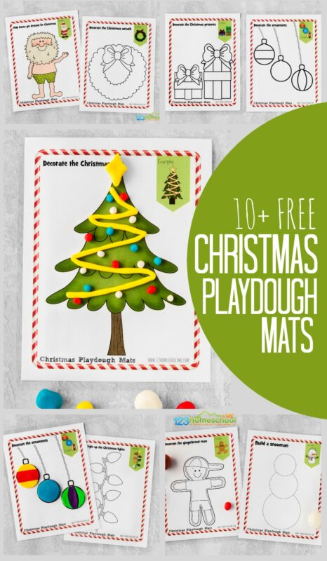 Kids are going to love these interactive, Free printable Christmas Playdough Mats! Let their creativity soar as they play, learn, and strengthen their fine motor skills while helping decorate the Christmas tree, decorating the gingerbread man, helping Santa Claus getting on his iconic red suit, and more!  Simply download the pdf file with the 10 different free Christmas playdough mats to have fun with toddler, preschool, pre-k, and kindergarten age students this December!