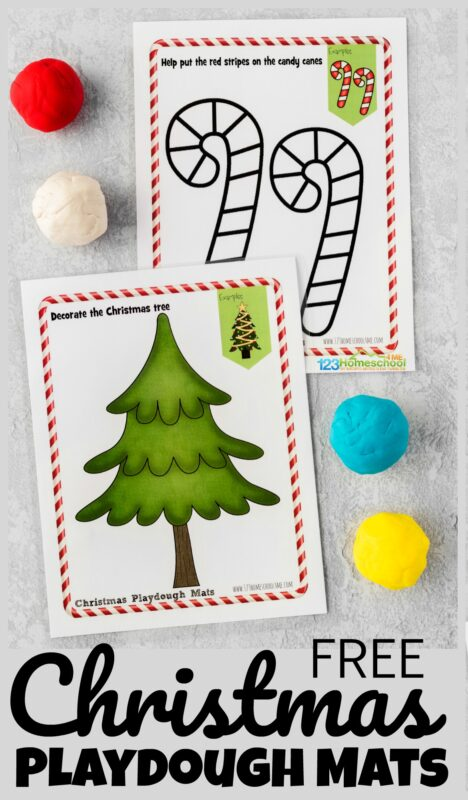 Kids are going to love these interactive, Free printable Christmas Playdough Mats! Let their creativity soar as they play, learn, and strengthen their fine motor skills while helping decorate the Christmas tree, decorating the gingerbread man, helping Santa Claus getting on his iconic red suit, and more! Simply download the pdf file with the 10 differentfree Christmas playdough mats to have fun with toddler, preschool, pre-k, and kindergarten age students this December!