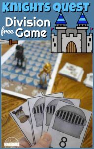 Making practicing dividing fun by playing a hands-on math game! Knight's Quest is a free printabledivision games to practice division with 3rd grade, 4th grade, 5th grade, and 6th grade students! This division games printable is an educational math game to make learning fun with a middle ages theme filled with knights, castles, and division facts!