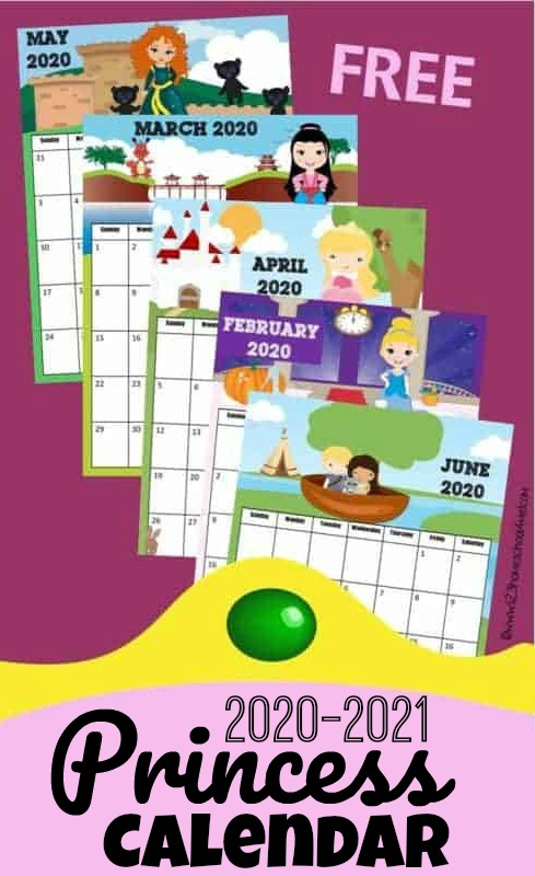Who better than to help kids learn about calendars thanprincesses! Kids will love keeping track of upcoming holidays while learning about the days, months, and weeks of the year with this super cute, free printable Princess Calendar. This pdf file template includes your child's favorite Disney princess such as Princess Tiana, Princess Jasmine, Queen Elsa, Princess Anna, Princess Rapunzel (Tangled) , Snow White, Cinderella, Belle, Mulan, Sleeping Beauty (Aurora), Merida, Pocahontas, and Ariel (Little Mermaid), and more! Print the pages and assemble your free calendar for toddler, preschool, pre k, kindergarten, first grade, 2nd grade and more!