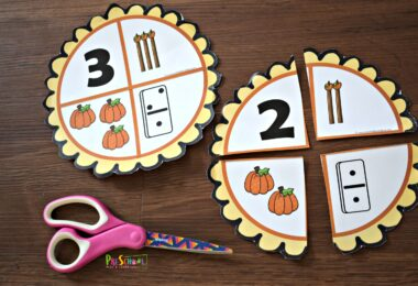 fun fall themed number sense activity for preschool, prek and kindergarten age kids for Thanksgiving