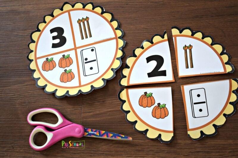fun fall themed number sense activity for preschool, prek and kindergarten age kids for Thanksgiving