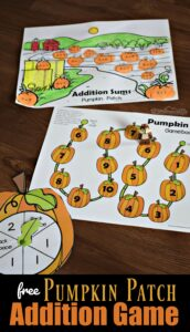 FREE Pumpkin Patch Addition Game - this is such a fun, hands on math game for kindergarten and first grade kids to practice addition within 10 while having fun with a pumpkin or thanksgiving theme. #kindergarten #addition #pumpkin