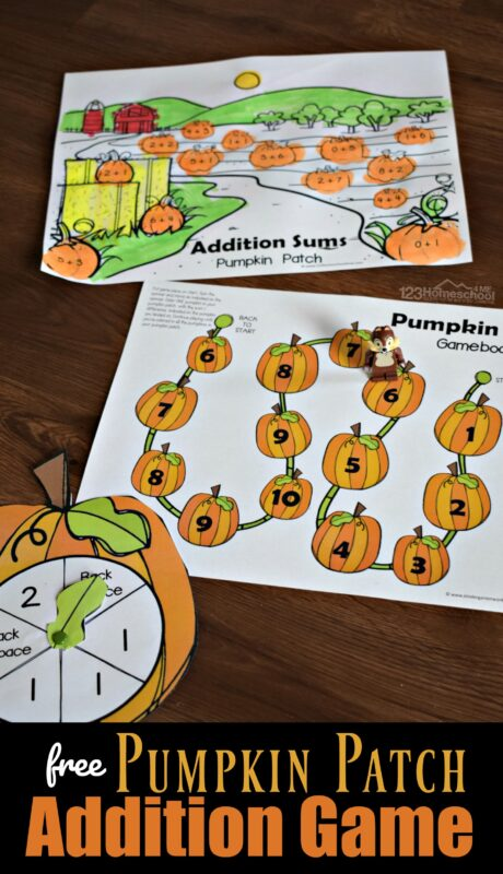 Pumpkin Sumsmakes practicing addition fun! This super cute, clever, and hands-on math activity is perfect for preschool, pre k, kindergarten, and first grade students. Simply download the free printable Pumpkin Addition Game to help students have fun adding within 10 using this math game perfect for October and November pumpkin themes.