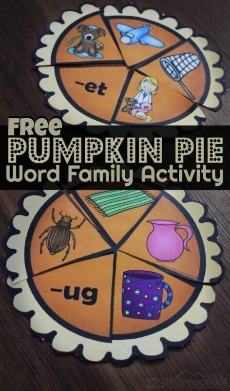 FREE Pumpkin Pie Word Family Activities - fun, hands on game to help prek kindergarten, and first grade kids to improve reading fluency. Great activity for halloween and thanksgiving theme #pumpkin #wordfamilies #kindergarten