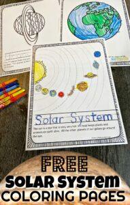 Learn about the solar system for kids with these super cute, free printable solar system coloring pages. Simply download pdf file and print the solar system colouring pages to help teach toddler, preschool, pre-k, kindergarten, first grade, 2nd grade, 3rd grade, 4th grade, 5th grade, and 6th grade students about the planets in our solar system! There are over 15 different pages in this solar system coloring page pack to learn about Sun, Mercury, Venus, Earth, the Moon, Mars, Jupiter, Saturn, Uranus, Neptune, Asteroid Belt, Pluto, and the Milky Way Galaxy.
