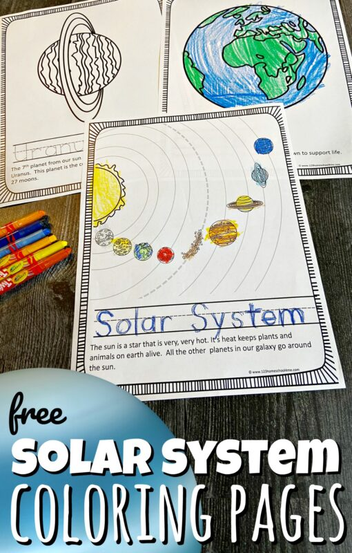 Learn about the solar system for kids with these super cute, free printable solar system coloring pages. Simply download pdf file and print thesolar system colouring pages to help teach toddler, preschool, pre-k, kindergarten, first grade, 2nd grade, 3rd grade, 4th grade, 5th grade, and 6th grade students about the planets in our solar system! There are over 15 different pages in this solar system coloring pagepack to learn about Sun, Mercury, Venus, Earth, the Moon, Mars, Jupiter, Saturn, Uranus, Neptune, Asteroid Belt, Pluto, and the Milky Way Galaxy.