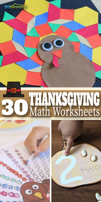 30 Thanksgiving Math Activities - make learning fun in November with these fun, free thanksgiving math worksheets for prek, kindergarten, 1st grade, and 2nd grade kids #thanksgivingmath #thanksgivingprintables #thanksgivingthem