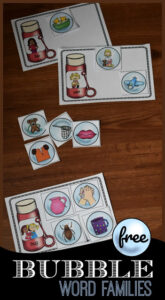 bubble word family activity for kindergarten and grade 1