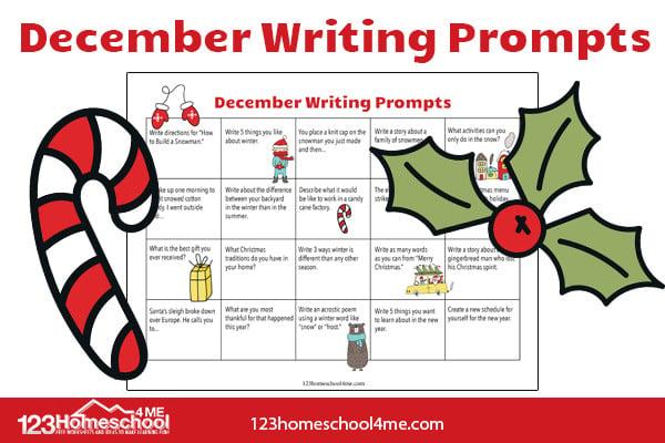 Deember Writing Prompts Calendar for kindergarten, first grade, 2nd grade, 3rd grade, and 4th grade kids