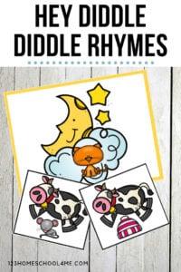 Hey Diddle Diddle Rhymes - fun, free printable acivity for toddler, preschool, and kindergarten age kids learning nursery rhymes #nurseryrhymes #rhymes #preschool