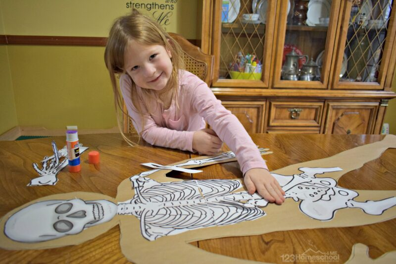 this human body model project is fun to print and use for kids to make their own skeleton