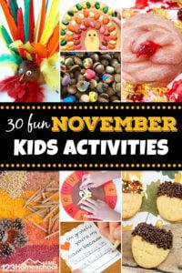 30 fun November Kids Activities - Get ready for a FUN month with these November Activities for Kids including ideas to celebreat thanksgiving, acorns, turkey, and cinnamon. #kidsactivities #november #preschool