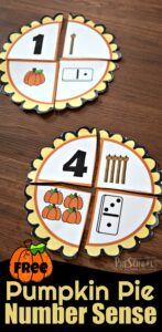 FREE Pumpkin Pie Number Sense - this is such a fun fall math activity for preschool, prek and kindergarten age kids to working on counting for Thanksgiving or pumpkin theme. #preschool #numbersense #pumpkin