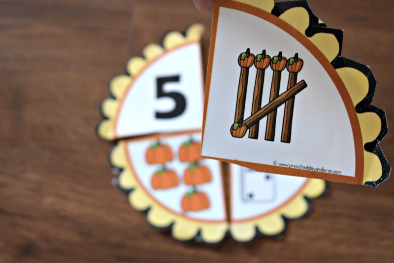 Preschoolers will improve number sense by counting pumpkins while putting together the pumpkin pies activity
