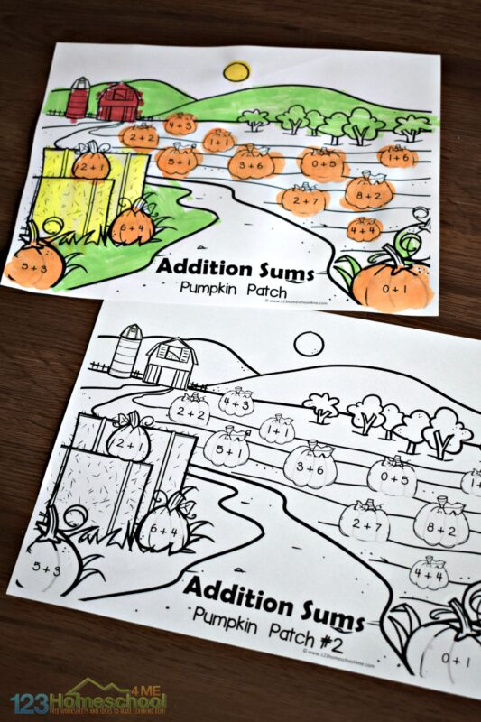FREE pumpkin printable to practice addition within 10 with kindergartners and first graders during October and November