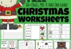 super cute, free printable, Christmas Worksheets are so much fun?  Preschool, pre-k, kindergarten, first grade, and 2nd grade students will stay engaged as they practice Christmas math, learn abcs, work on beginning sounds, fill in the vowel, letter recognition, make a printable book, play I spy, writing prompts, and more in December. This Simply download the Christmas worksheets pdf and you are ready to make learning fun this holiday season!