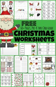 super cute, free printable, Christmas Worksheets are so much fun? Preschool, pre-k, kindergarten, first grade, and 2nd grade students will stay engaged as they practice Christmas math, learn abcs, work on beginning sounds, fill in the vowel, letter recognition, make a printable book, play I spy, writing prompts, and more in December. This Simply download the Christmas worksheets pdfand you are ready to make learning fun this holiday season!