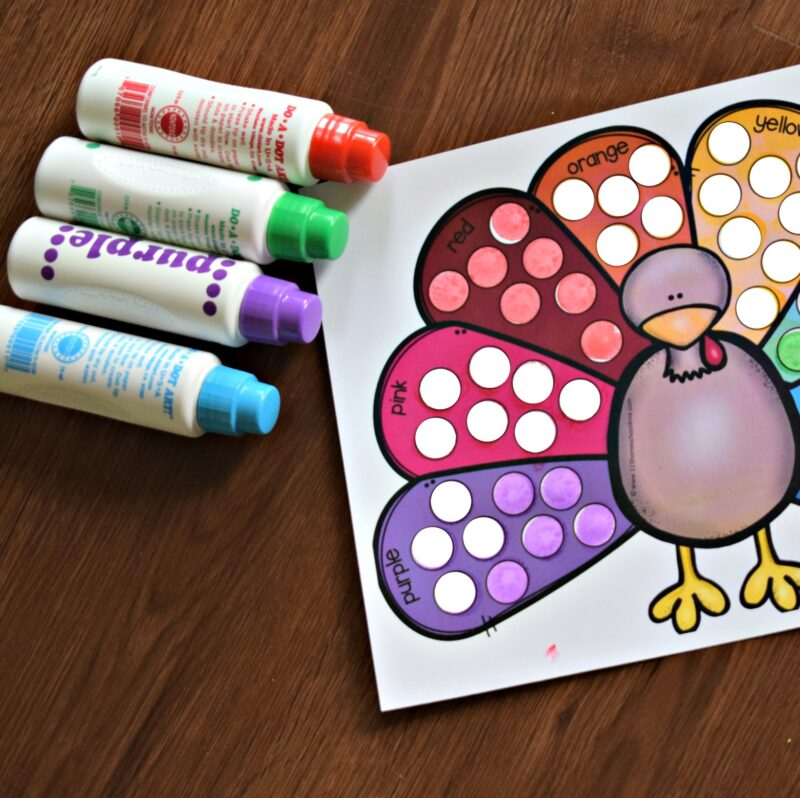 in this color activity for toddlers you will use do a dot markers to practice color recognition