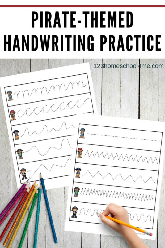 FREE Pirate Handwriting Printable - super cute tracing strips for toddler, preschool, prek, and kindergarten age kids to improve hand muscles #prek #piratetheme #pirateprintables