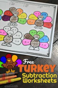 FREE FREE Turkey Subtraction Worksheets - fun, hands on educational activity to help kindergarten and first grade kids practice math while having fun with a turkey theme for Thanksgiving #thanksgiving #kindergarten #subtraction