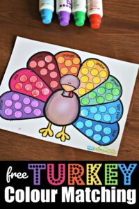 FREE Turkey Colour Matching Game - toddlers, preschoolers and kindergartners will have fun working on one to one correspondence and color recognition with this fun turkey printable for thanksgiving. Use bingo markers, pom poms, stickers, or crayons to complete #colors #toddler #preschool