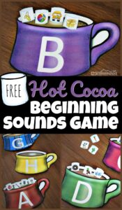 Make listening for initial sounds in words FUN with this beginning sounds match! Use this hot cocoa themed phonics activity in December, January, and February. The winter printables has kindergarten, pre-k, and first grade students sort the phonics marshmallows into the correct alphabet mugs based on the beginning sounds for kids. Add this phonics printable to your winter theme for literacy. Simply download pdf file with the beginning sounds game to make learning fun even if it is cold and snowy outside!