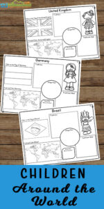 Kids will have fun learning about Children Around the World using these free printable worksheets for kids of all ages. #childrenaroundtheworld #christmasaroundtheworld #geography
