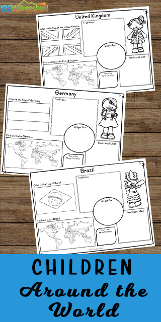 Kids will have fun learning about other countries, cultures, and more with these super cute, free printable Children Around the World Worksheets. This huge pack of free worksheets contains cute clipart and prompts for kindergarten, first grade, 2nd grade, 3rd grade 4th grade, 5th grade, and 6th grade students to learn about other places. Each page includes cute kid, country flag to color, map, and several prompts.