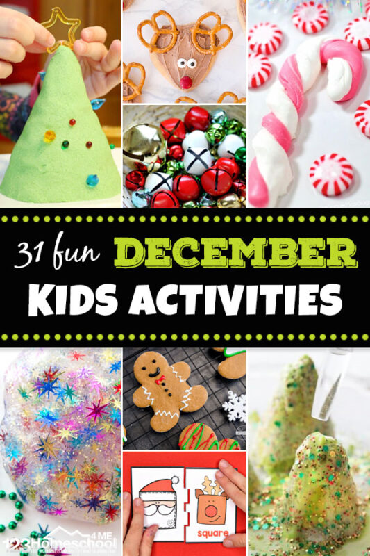 a whole months worth of festive and fun December Activities for kids. These Christmas activities for kids are perfect for toddler, preschool, pre-k, kindergarten, first grade, 2nd grade and 3rd grade kids! Which Christmas activities theme will you pick first - Christmas tree, candy cane, Rudolph, Gingerbread Man, or Santa Clause and Elves?