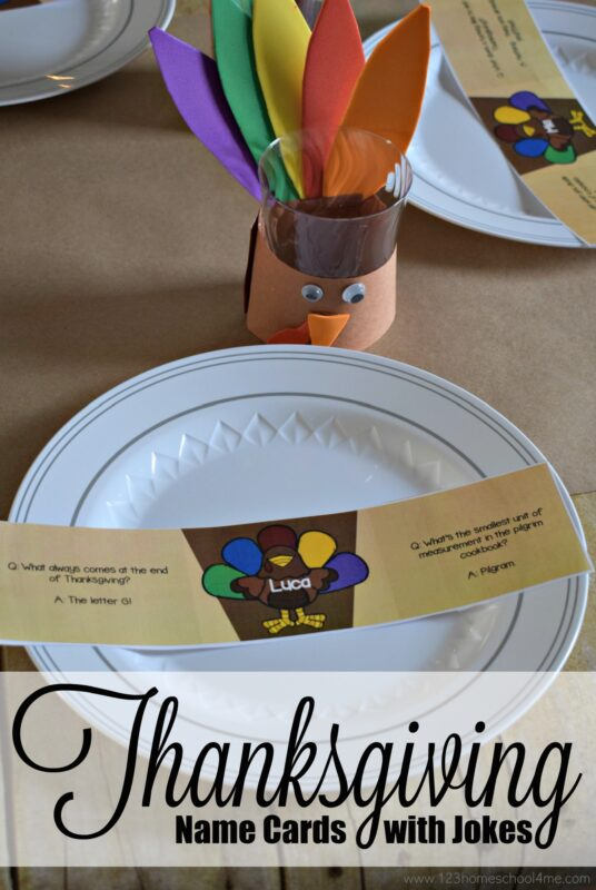 FREE Turkey Printable Thanksgiving name cards to decorate your table while jump starting conversations with extended family with thanksgiving jokes for kids!