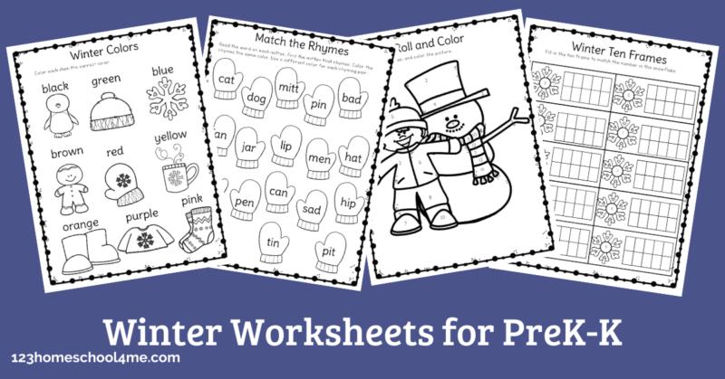 FREE Winter Worksheets For Preschool & Kindergartners