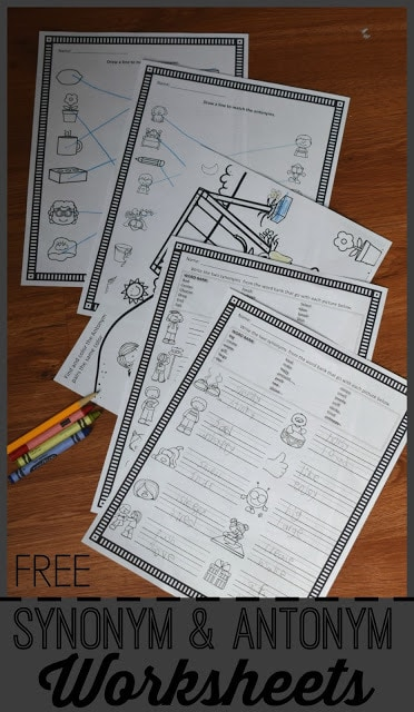 FREE Synonym & Antonym Worksheets - no prep worksheets to print and you are ready for some extra practice with synonyms and antonyms for seat work, summer learning, homework, homeschool and more with first grade, 2nd grade, 3rd grade, 4th grade kids. #synonyms #antonym #worksheetsforkids