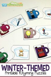 hot cocoa free printable rhyming puzzles - rhyming words with pictures