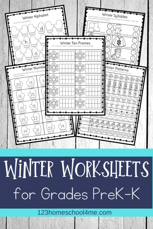 Winter Worksheets- preschool and kindergarten age kids will have fun practicing a variety of skills with these free winter worksheets #winterworksheets #preschool #kindergarten