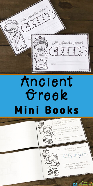 Have fun learning about Greek history with this super cute, Free Ancient Greece printable activities. These ancient Greece printables turn into a book for pre-k, kindergarten, first grade, 2nd grade, 3rd grade, 4th grade, 5th grade, and 6th grade students to read, color, and learn! These are a handy freebie to learn about other countries around the word, geography, or to add to your homeschool history lesson plan. Download pdf file with Greek worksheets for kindergarten to make history come alive for kids!
