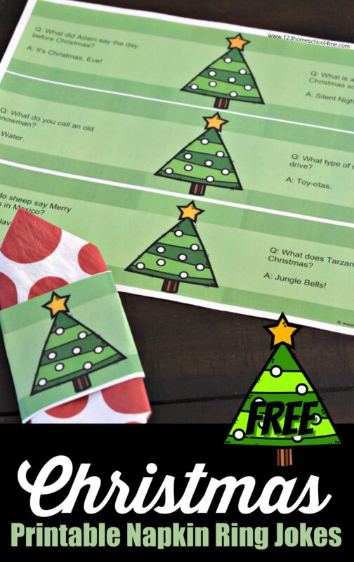 This year skip the boring Christmas name cards for these super cute holiday themed free printable name cards with Jokes. This Christmas printable for kids is a downloadable pdf file that is editable and each name card napkin ring had 2 jokes on it. This is fun for the whole family including guests, grandparents, aunts & uncles, elementary age kids and more!
